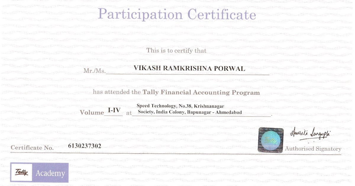VIKASH PORWAL: CERTIFICATE IN TALLY FINANCIAL ACCOUNTING PROGRAM