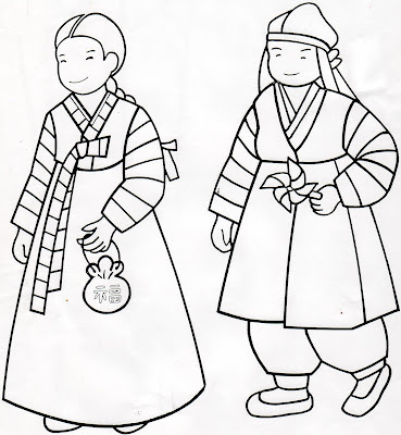 Korean Hanboks Coloring Pages Just Wedeminute South Korea Coloring Pages
