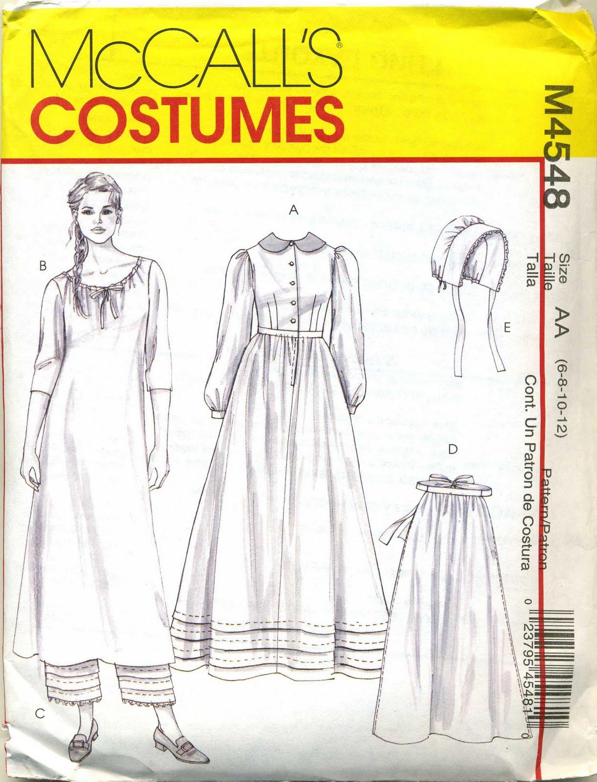 de aa costume femme maison dans la prairie mccall s 4548 taille aa 6 8 10 12