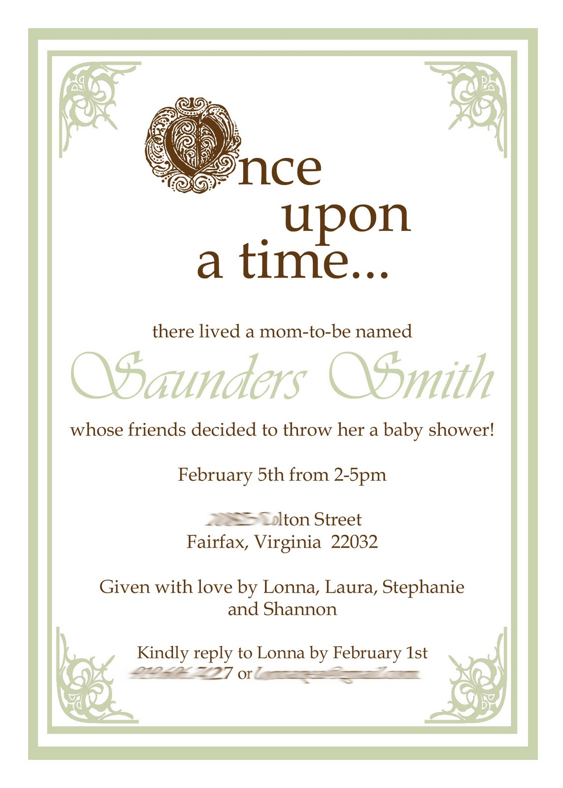 Little Bit Creations January 2011 Once Upon A Time Baby Shower Invite Blog  2011 01 01 Archivehtml Once Upon A Time Baby Shower Invitations