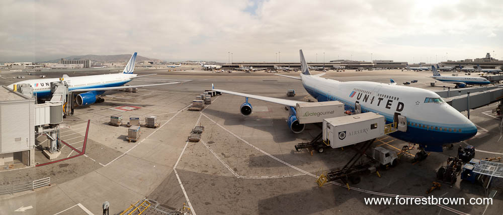 Panorama of United Jets at San Francisco International Airport SFO