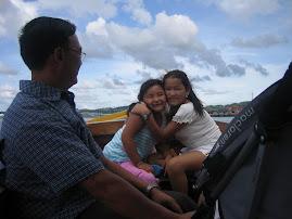 riding on a boat at brunai