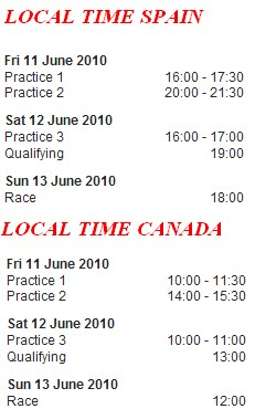 Horarios GP CANADA 2010