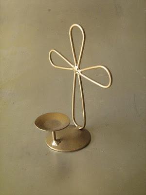 Bases de alambre y alambron crucifico para vela - Base de vela ...