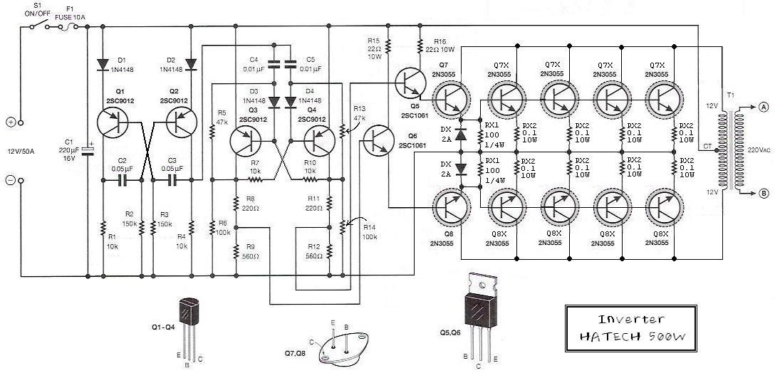 circuit electronics  12 volt to 220 volt inverter 500w