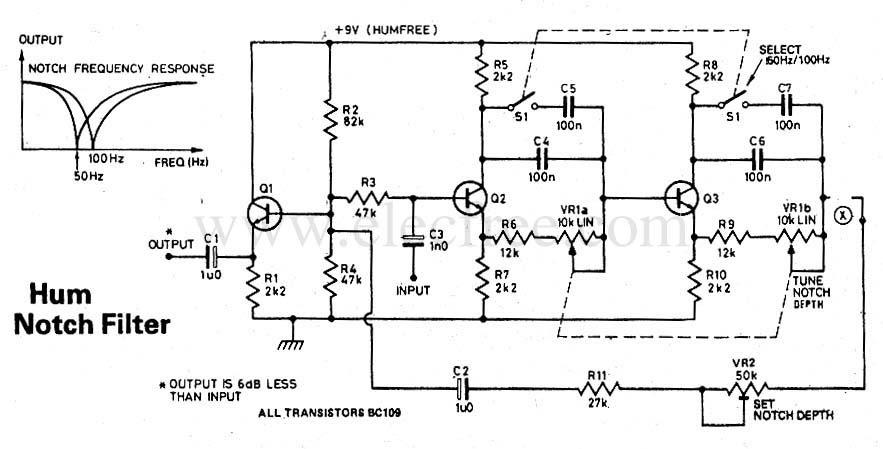 circuit electronics  transistor hum notch filter