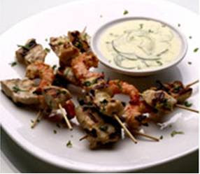 Grilled Seafood and Chicken in Yogurt-Lemongrass Sauce