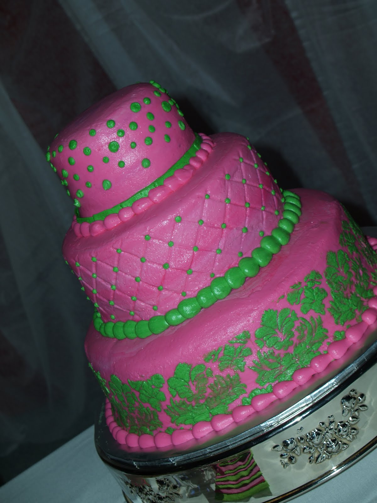 Becky s Sweets Hot Pink & Green Wedding Cake