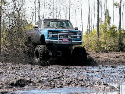 big ford truck in mud