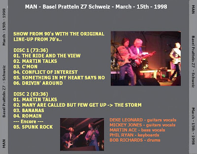 Cover Album of MAN - Basel Pratteln Z7 Schweiz - March - 15th - 1998
