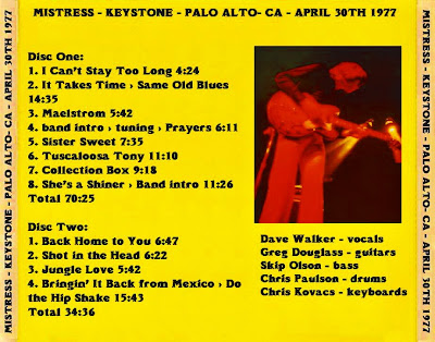 Mistress With Greg Douglass & Dave Walker - Keystone - Palo Alto - CA - April 30th 1977