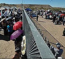 Mass on the Fenced Border At Anapra, Mx-Sunland Park, NM
