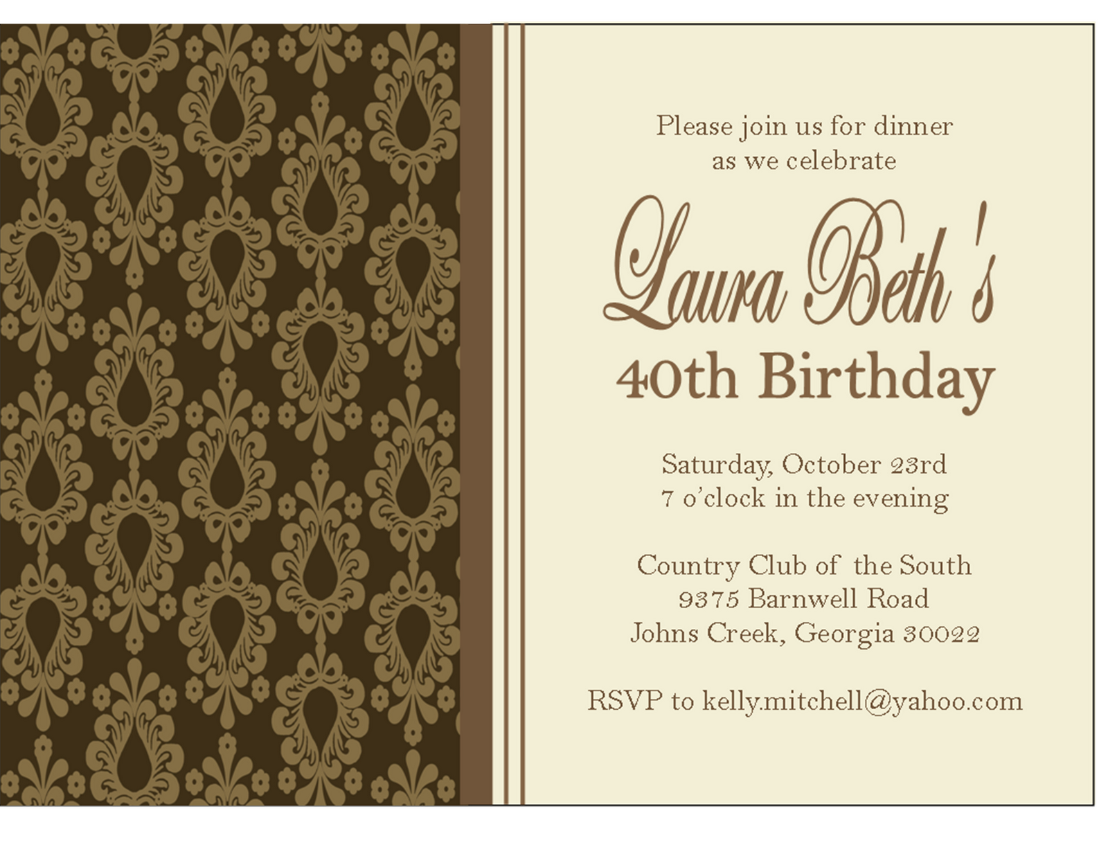 Damask Dinner Party Invitations and Place Cards - Sweet Peach Paperie