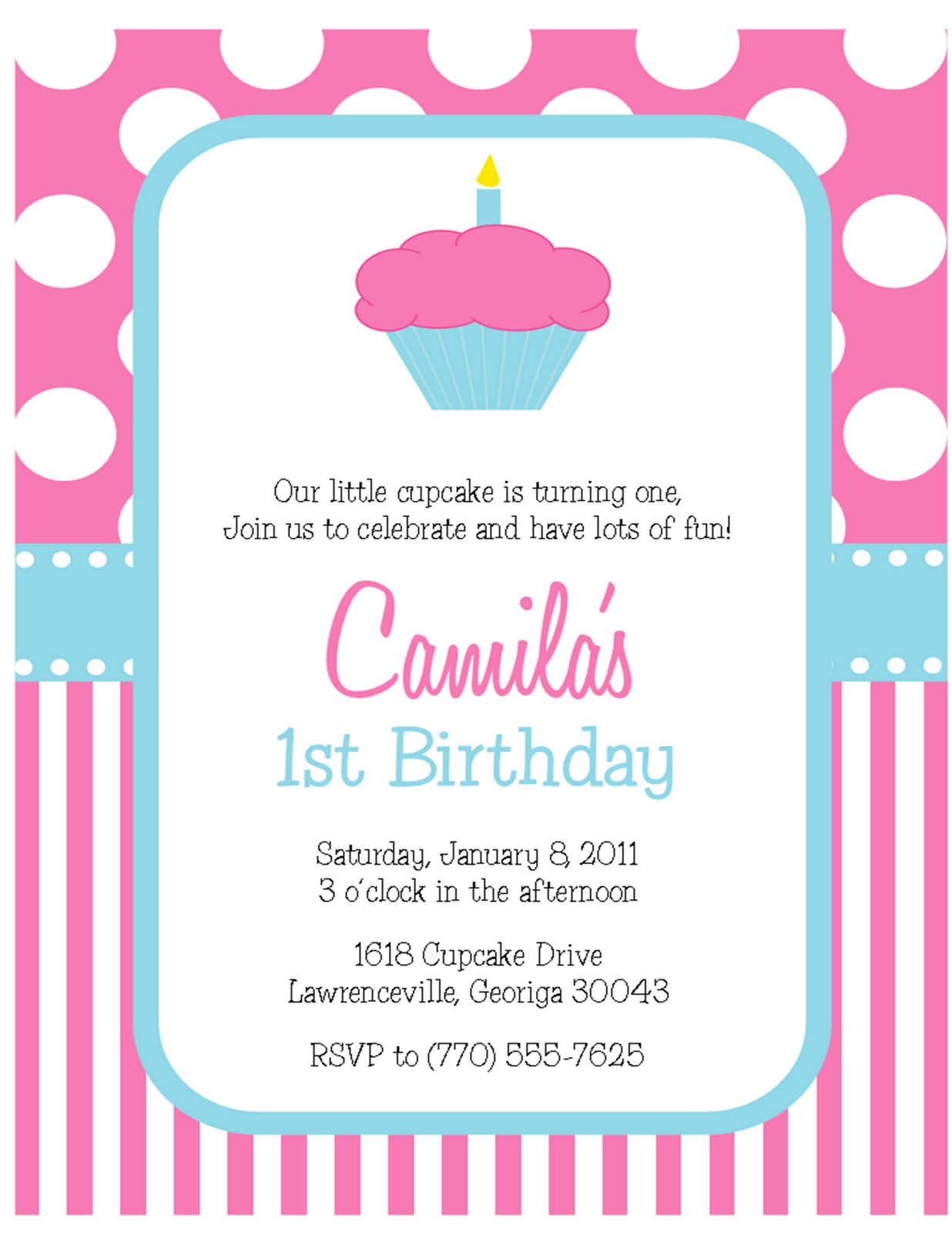 Cupcake Party: Polka Dot and Stripe 1st Birthday Invitations ...