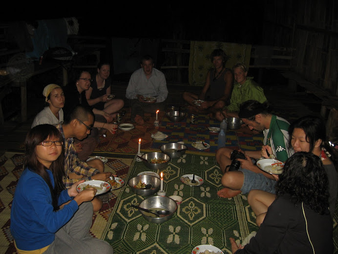 Eating dinner at the village in the jungle