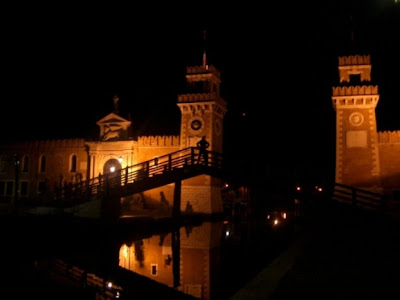 gate towers in venice at night 2004 italy picture