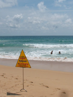 Karon Beach, 23rd August - Ignoring the Rip Current signs...