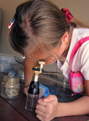 Checking rocks with a microscope