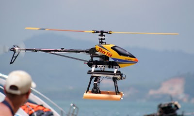 Helicam helicopter landing at Koh Rang Yai beach