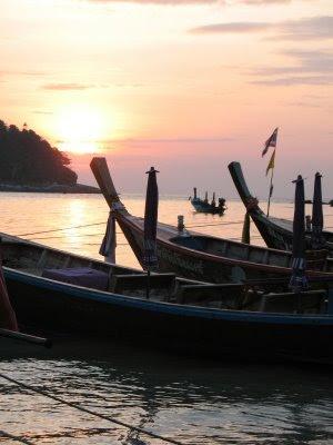 Sunset and Longtail boats at Kata Beach, Phuket, 30th January 2009