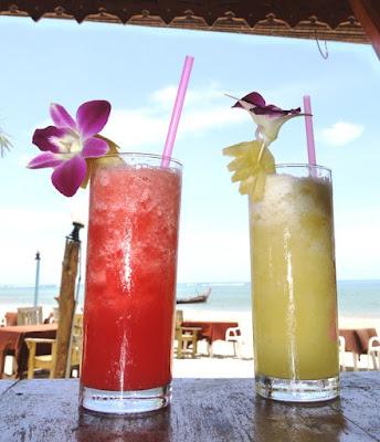 Watermelon and Pineapple shakes at Batik Seafood, Nai Yang Beach, Phuket