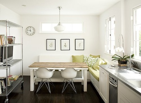 The most common layout for a kitchen banquette is the corner set up ...