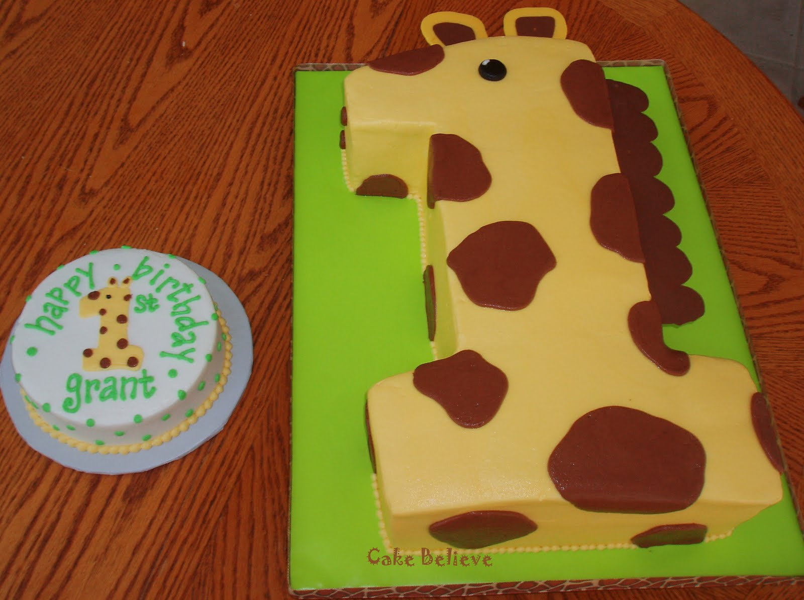 Decorating Ideas > Cake Believe First Birthday Giraffe ~ 042142_Number One Cake Decoration Ideas