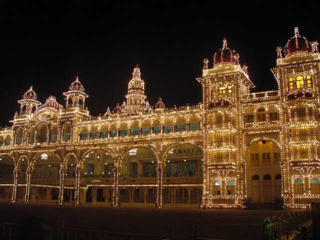 Mysore palace is only lit for thirty minutes each week in order to