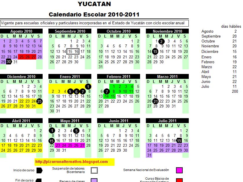 Pizarrón Alternativo: Calendario Escolar 2010 2011 Educación ...