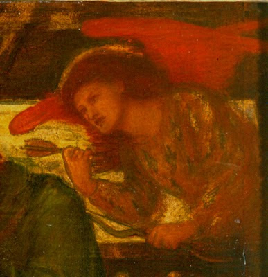 Detail from Tristram and Yseult Ddrink the Love Potion, Rossetti.