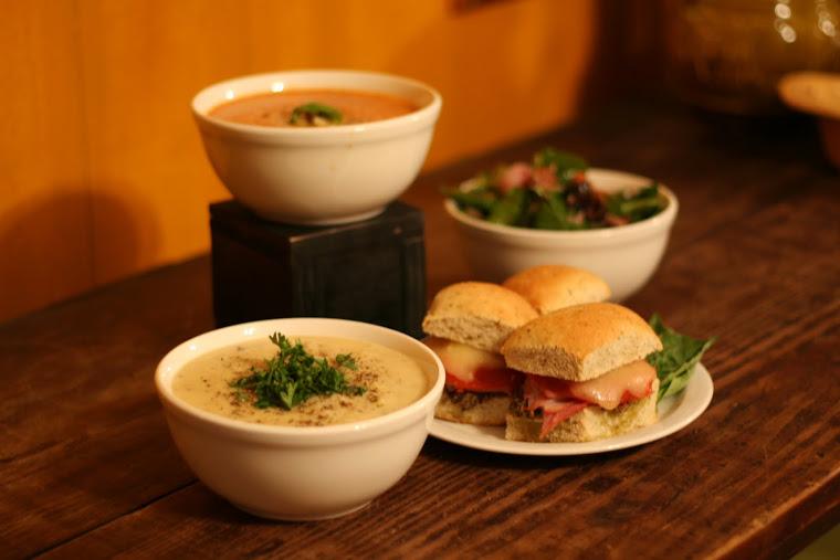 Creamy Tomato Basil, Potato Leek Soup, Muffaletta, and Spinach Salad