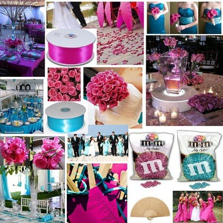 Inspiration board for turquoise and magenta wedding