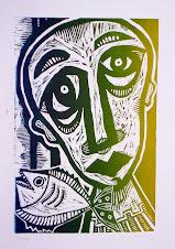 hombre y pez (xilografía)