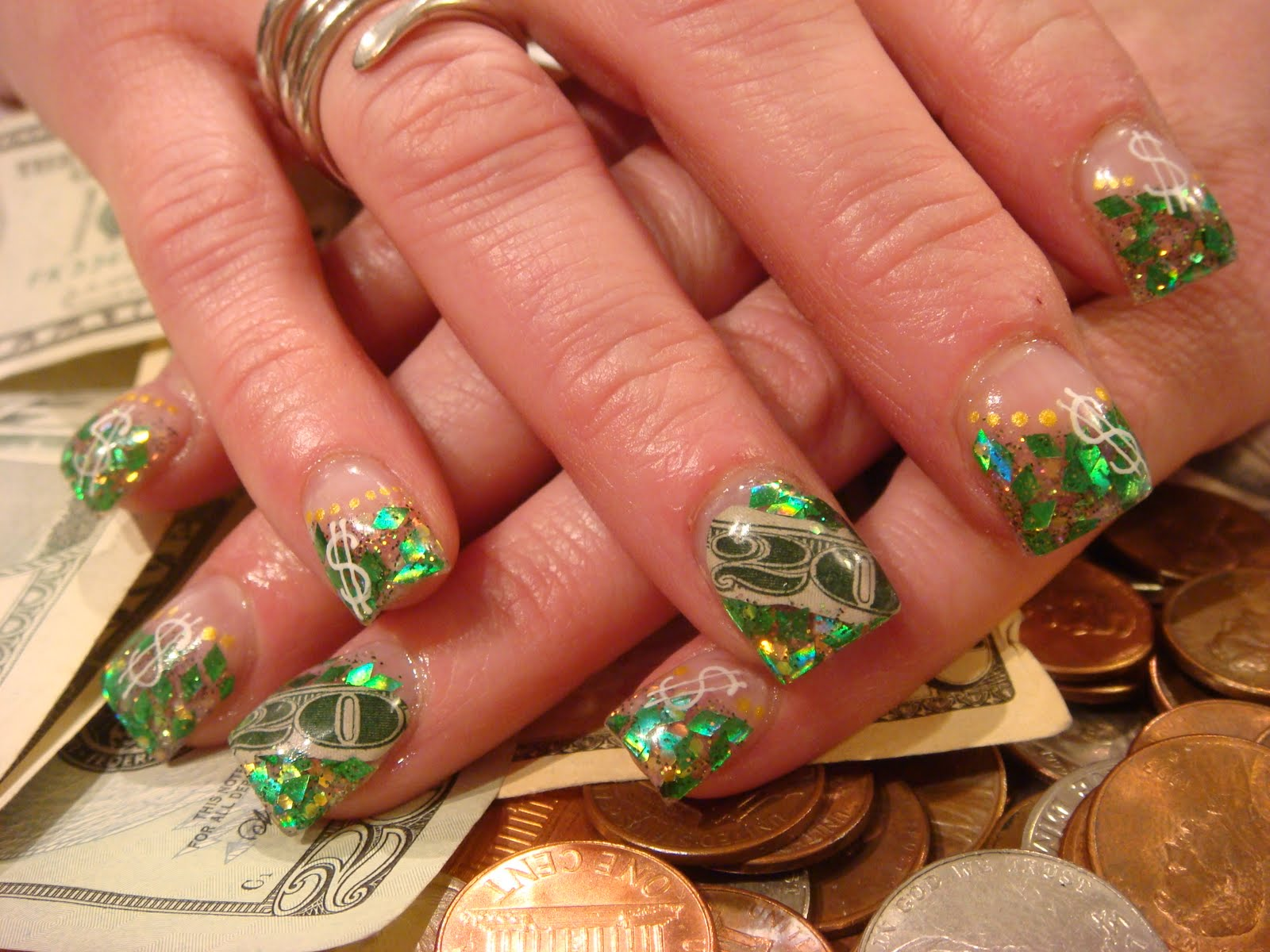 Money acrylic nails nails acrylic prinsesfo Images