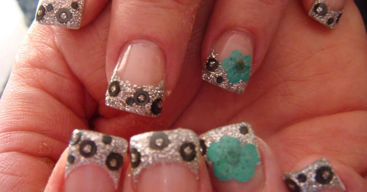 BLACK, SILVER, TURQUOISE ACRYLIC   Nails Acrylic