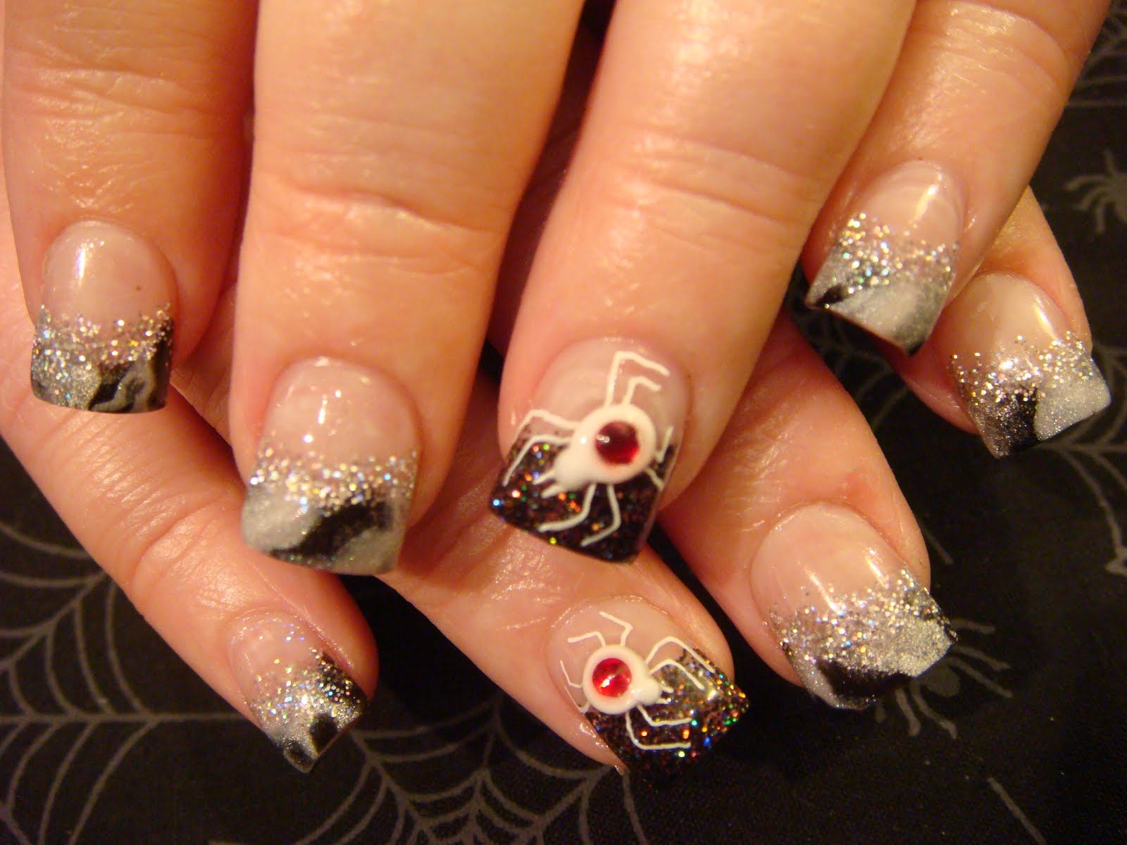 Halloween nail acrylic art class these are 3d ghosts that i also learned at the young nails acrylic class prinsesfo Gallery