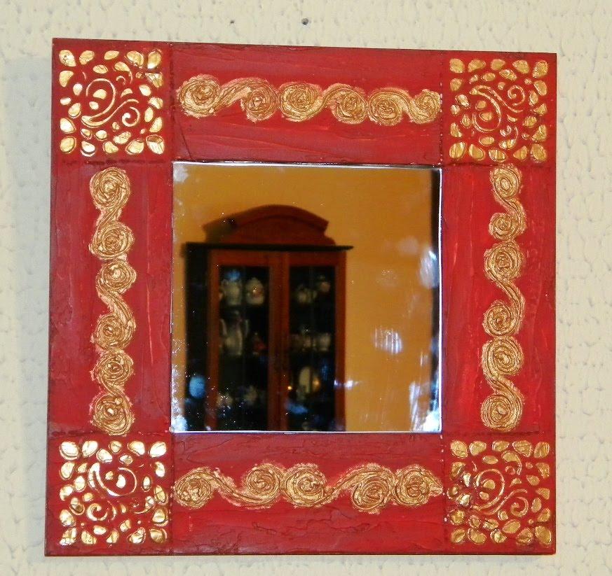Cajas y algo mas marco con espejo for Como decorar un espejo cuadrado