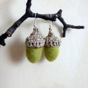 Olive green felt acorns