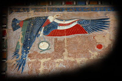painted vulcher carving at temple of Hatshepsut