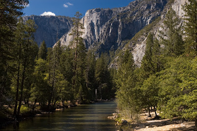 The Merced river running through the park