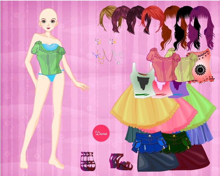 Barbie Girl dress up game 01 100% High Neck Dressup