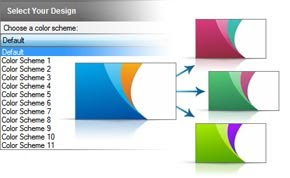 business card design software color schemes