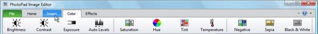 PhotoPad Photo Editing Software new tabbed ribbon toolbar