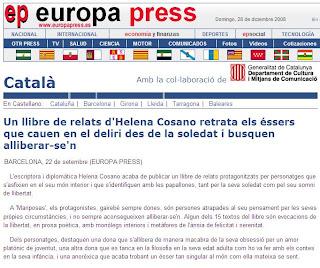 Artículo Europa Press sobre Helena Cosano, escritora y diplomática