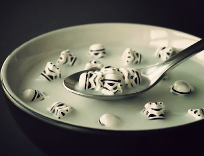No, this is not a real cereal, and yes, those are plastic Lego Star Wars