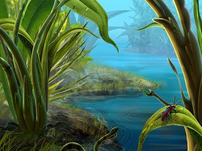 ilustração de riacho e animais