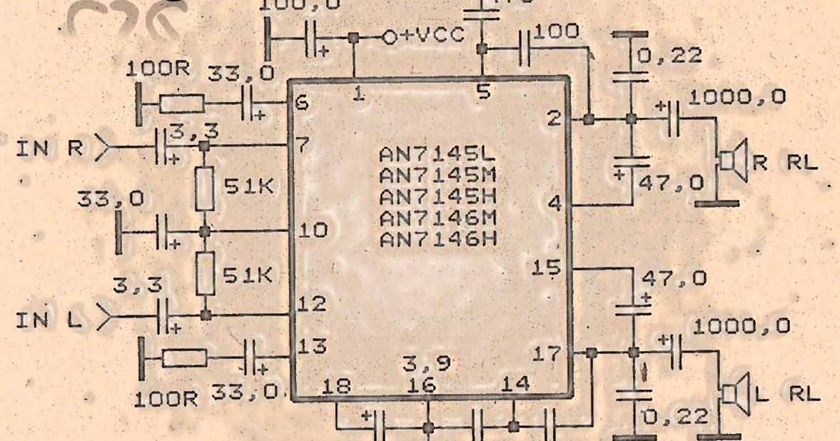 amplifier circuit 2 x 10 watt with ic an7145 subwoofer bass amplifierStereo Amplifier Circuit With Ic An7142 #7