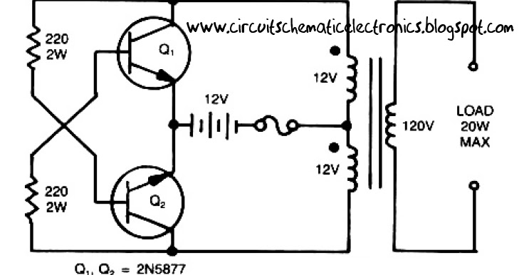 the circuits  simple inverter circuit from 12 v up to 120v elevated