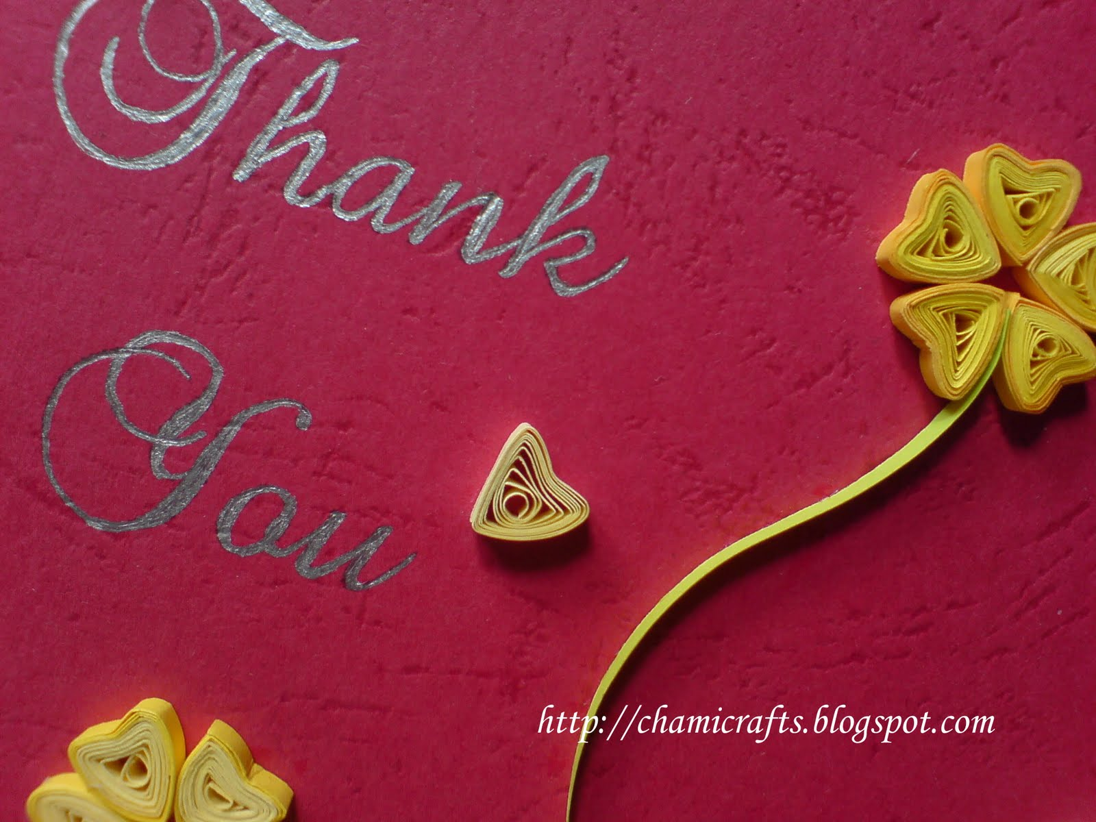 Chami Crafts Handmade Greeting Cards Quilled Thank You Card