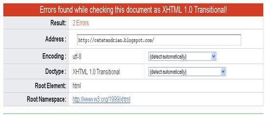 Cek Validasi HTML Blog dengan validator.w3.org